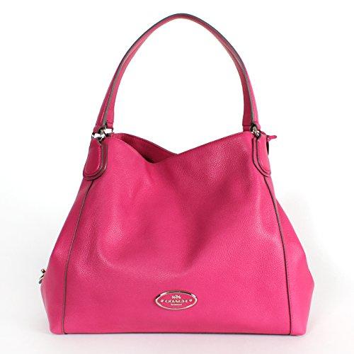 Coach 33547 Edie Pebbled Leather Shoulder Bag Silver/fuchsia