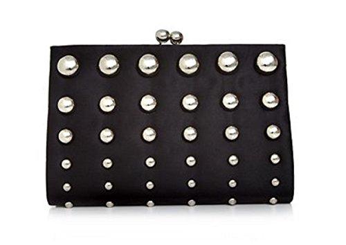 Franchi Missy Evening Clutch Purse Bag Wallet Handbag (Black)