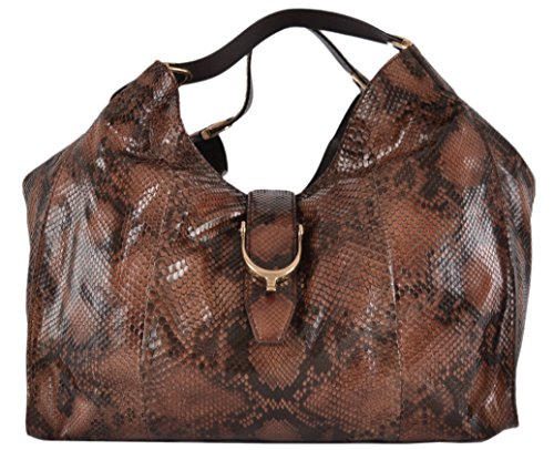 Gucci Women's Large Rust Black Python Snake Stirrup Hobo Purse
