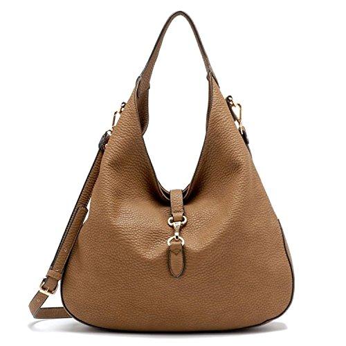 Tosca Slouchy Dog Clip Hobo Handbag (Tan1)