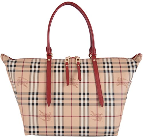 Burberry Women's Red Haymarket Nova Check Zip Top Handbag