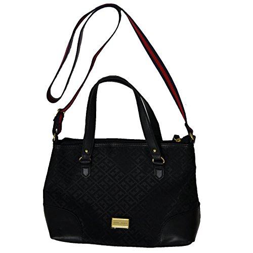 Tommy Hilfiger Canvas Crossbody Bag Tote Handbag Purse Black