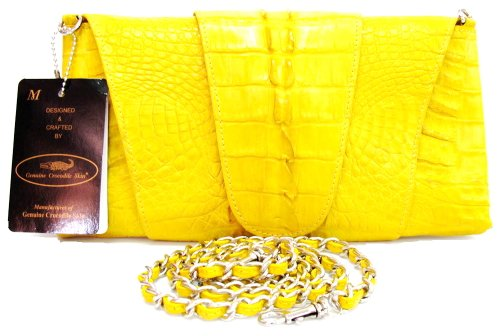 100% Genuine Crocodile Hornback to BIG Tail Leather Clutch Handbag Purse Yellow