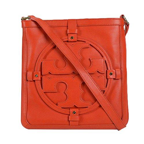 Tory Burch Logo Leather Holly Book bag Crossbody Bag Blood Orange