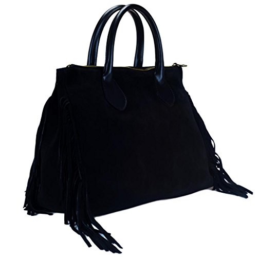 HS 5294 NR FARA Made in Italy Black Fringed Satchel/Shoulder Bag