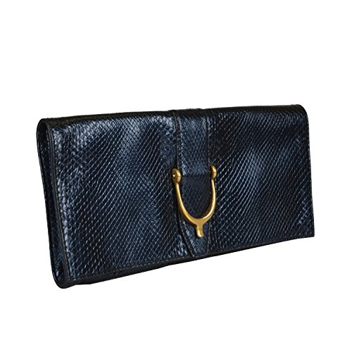 Gucci Women's Blue Python Skin Clutch Handbag Bag