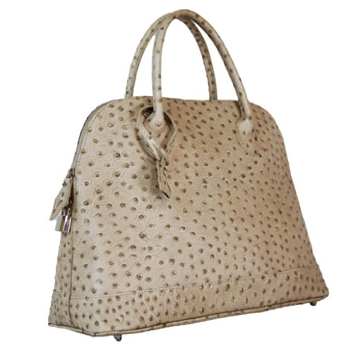 HS 5197 TP AMARIS Made in Italy Ostrich Embossed Taupe Dome Satchel