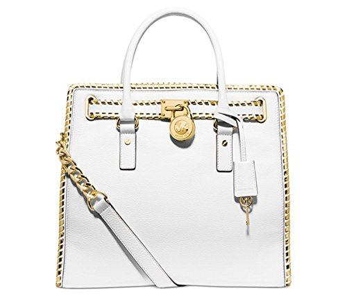 Michael Kors Whipped Hamilton North South Tote OPTIC WHITE/GOLD