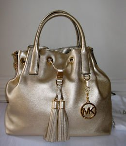 Michael Kors Camden Large Metallic Leather Satchel Pale Gold