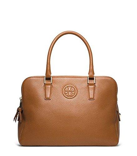 Tory Burch Marion Tripel Zip Brown Leather Satchel Bag Bark New