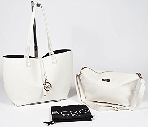 Bcbg Reversible Tote with Matching Convertible Bag Off White/Black