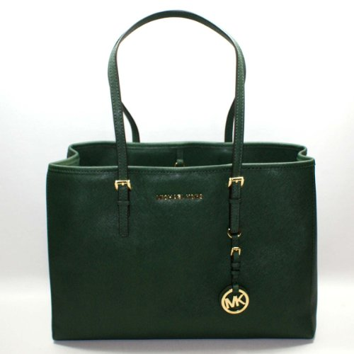 Michael Kors Saffiano Jet Set Travel East West Tote Malachite(Green) #30T3GTVT7L