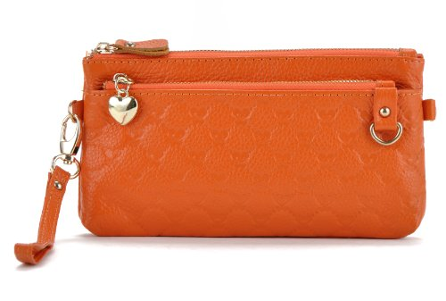 Heshe Fashion Women's Genuine Leather Chain Cross-body Evening Bag