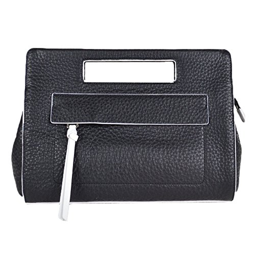 Coach Bleecker Pocket Clutch in Edgepaint Leather 51635 Black White