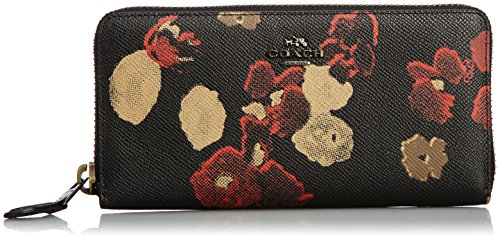 Coach Accordion Zip Wallet Floral Print Leather, One size