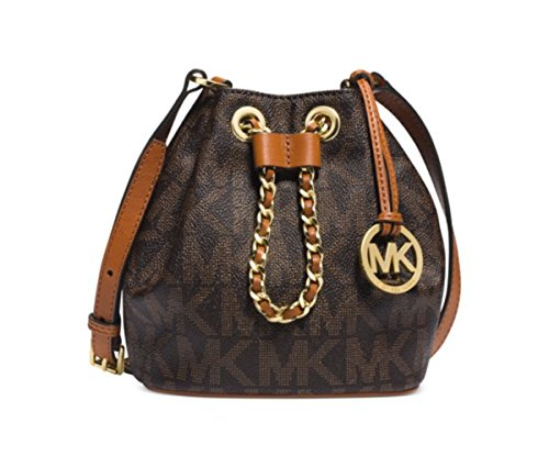 Michael Kors Frankie Drawstring Crossbody Small Signature Brown