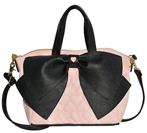 Betsey Johnson Candy Stripe Bow Nanza Satchel Purse Shoulder Bag Handbag