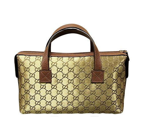 Gucci Canvas Gold Boston Bag Bowling Bag Handbag 264210 8070