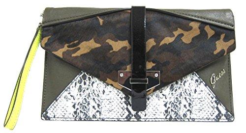 GUESS Quinn Envelope Clutch Handbag, Oliva Multi