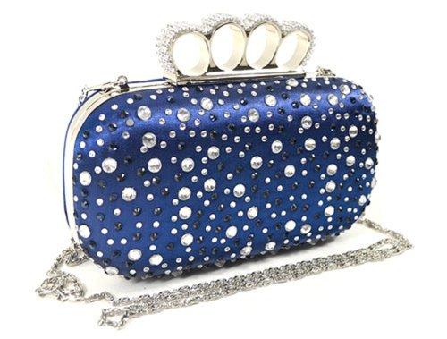 Women's Blue Hardware Frame Evening Bag with rhinestones – 75403