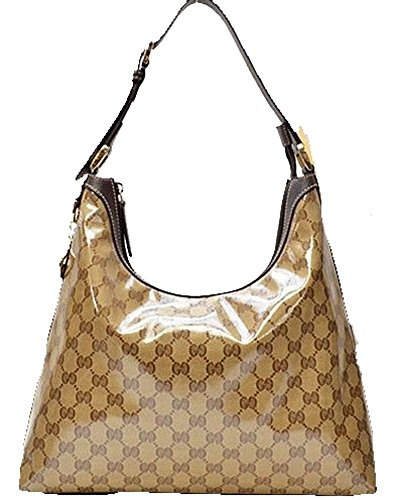 Gucci Crystal GG Hobo Bag in Crystal Jacquard Brown Beige 339553