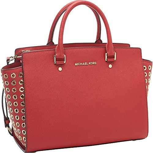 Michael Kors Selma Grommet Large Red Scarlet Saffiano Leather Satchel Handbag