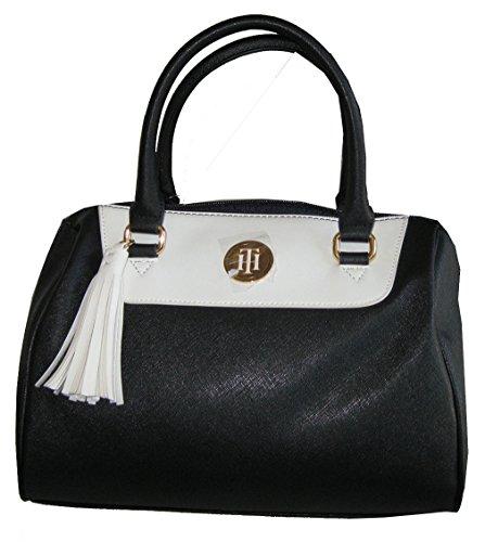 Tommy Hilfiger Faux Saffiano Leather Satchel Handbag Purse Black