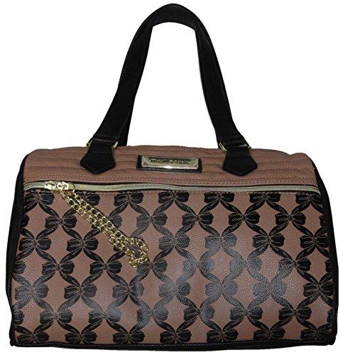 "Betsey Johnson Women's Large ""Channel Quilt"" Satchel Handbag , Spice/Black"