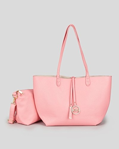 Bcbg Reversible Tote with Matching Convertible Bag Pink/off White