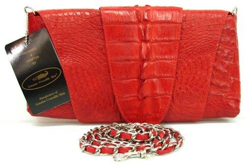 100% Genuine Crocodile Hornback to BIG Tail Leather Clutch Handbag Purse Rad
