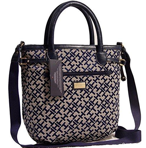 Tommy Hilfiger Satchel Tote Bag Handbag Purse (Blue / Beige)