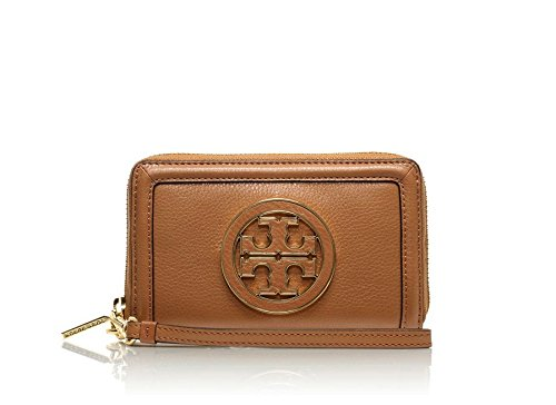 Tory Burch Amanda Smart Phone Wristlet in Royal Tan Leather