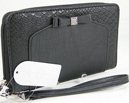 New Jessica Simpson Wristlet Zip Around Wallet Purse Hand Bag Black Silver Tara