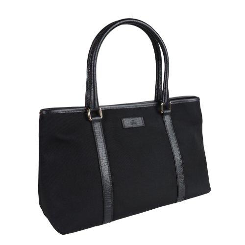 Gucci Women's Black Canvas Leather Trimmed Tote Shoulder Bag