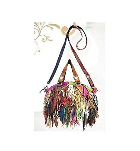 Designer Brightly Colored LEATHER Shag Handbag Purse Design RB3500