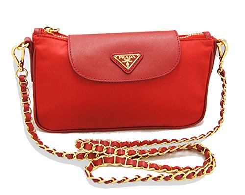 Prada Nylon & Saffiano Leather Chain Strap Clutch Cross Body Bag