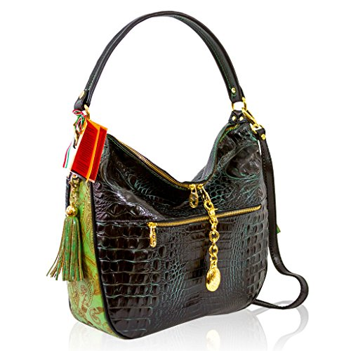 Marino Orlandi Italian Designer Green Alligator Leather Large Crossobody Bag