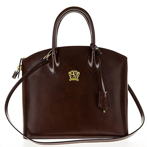 Pratezi Italian Made Polished Calf Leather Tote Handbag – Rich Brown