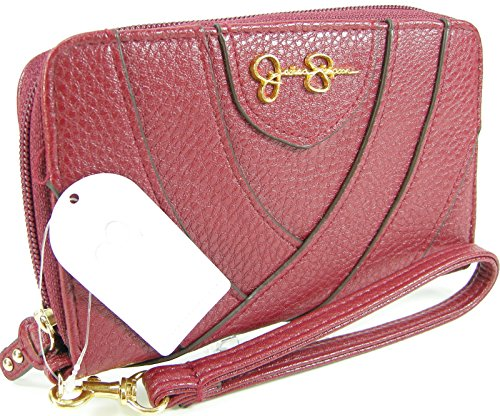 Jessica Simpson Wristlet Zip Around Wallet Purse Hand Bag Dark Cherry Amelie