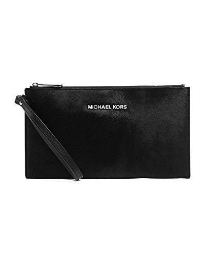 Michael Kors Jet Set Travel Black Haircalf Large Top Zip Clutch / Wristlet