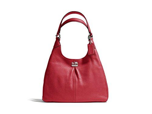 Coach Leather Madison Maggie Hobo Shoulder Bag 21225M Scarlet Red