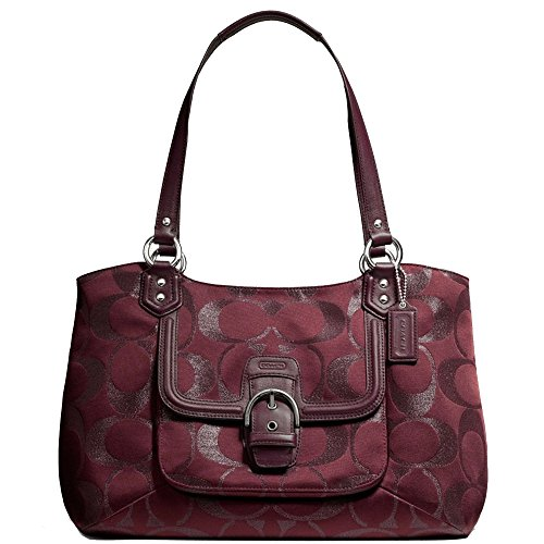 New Authentic COACH Campbell Belle Signature Metallic Sateen Bordeaux Burgundy Large Carryall Tote