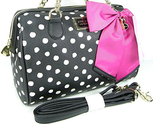 Betsey Johnson Logo Purse Satchel Bag Black Be Mine Medium Speedy Pink Bow