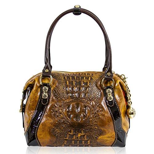 Marino Orlandi Italian Designer Cognac Alligator Leather Purse Boxy Bag
