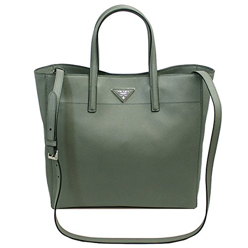PRADA Women's Saffiano Leather Tote Bag W/Strap Gray Bn2666