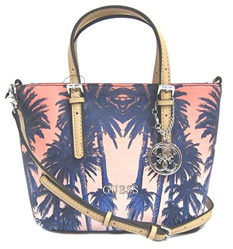 GUESS Women's Delaney Mini Palm Tree Tote Bag, Cobalt Multi