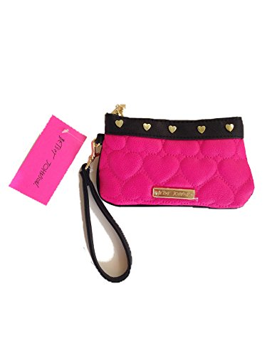 Betsy Johnson Be Mine Wristlet Fiushia Hot Pink with Gold Hardware & Zipper