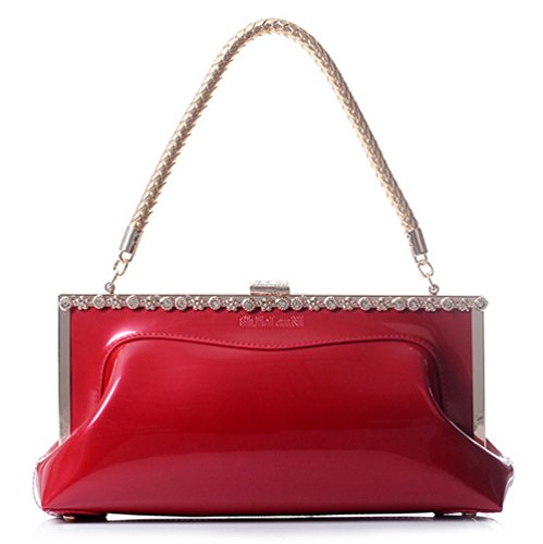 Buenocn Women Red Patent Bridal Evening Bag Shing Clutch Shoulder Bag Shy041