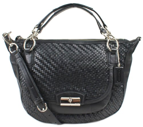 Coach Leather Kristin Woven Round Convertible Hobo Satchel Bag 19312 Black