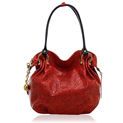 Marino Orlandi Italian Designer Red Paisley Embossed Leather Slouchy Bag Purse Bag